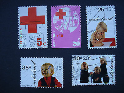 Set of 5 Used Stamps Netherlands, Red Cross 1972