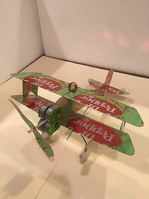 Dr. Pepper Green Soda Can Airplane HANDCRAFTED from CANS 10-2-4 Custom Plane