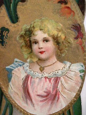 Vintage Victorian Easter Bookmark w/ Pretty Girl In Paint Palette  *