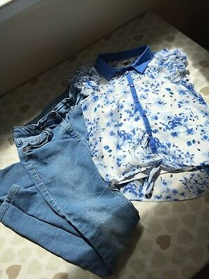 Tu Children's Outfit Age 10 Years Blue And White Jeans