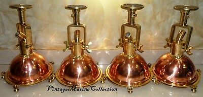 New Nautical  Marine Brass And Copper Deck Light With Wall Fitting - Set Of 4 Pc