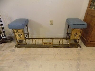 Antique Vintage Brass Fireplace Fender With Side Seats, Surround Guard