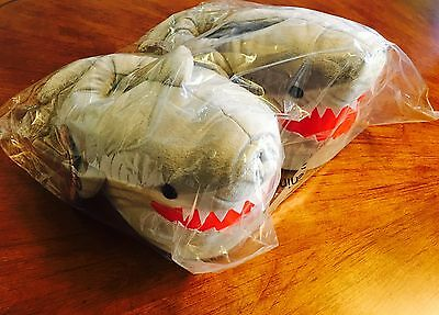 Chomping Shark Plush Slippers for Grown Ups! Adult One Size *NEW*