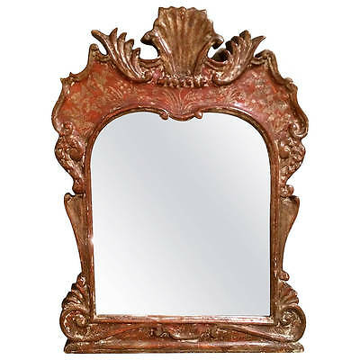 Italian Venetian Rococo Painted Red and Silver Mirror Frame - Sweet!