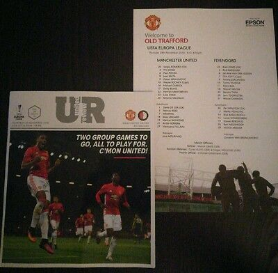 2016/17 Manchester United v Feyenoord Europa League - Programme and Team Sheet