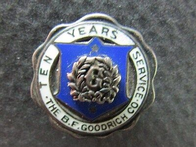 B F Goodrich Company - Lapel Pin 10  Years of Service - Sterling Silver Vintage