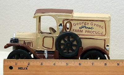Vintage cast iron George Green fresh farm produces delivery truck with produce