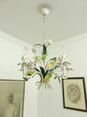 Ultimate Shabby French Chic Tole Daisies Chandelier Toleware Floral Light