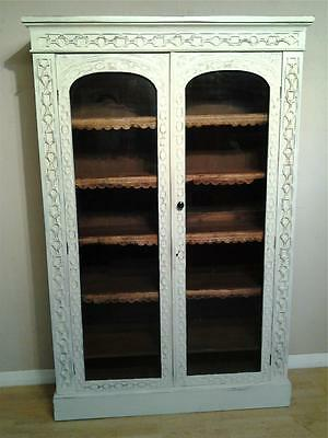 Antique carved double door bookcase painted Farrow & Ball shabby chic