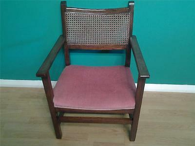 Sweet vintage oak bergere caned fireside chair low armchair