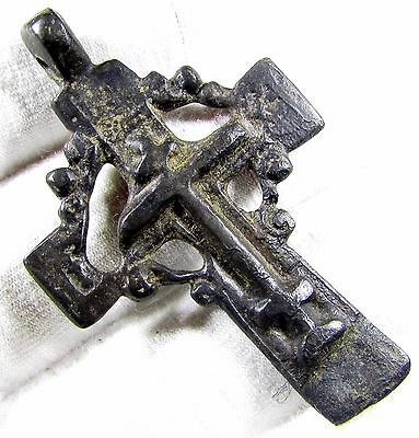 Superb Late Medieval / Tudor Period Radiate Bronze Cross Pendant - 1857