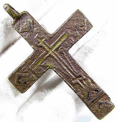 Superb Late / Post Medieval Bronze Cross Pendant - Wearable Artifact - 1859