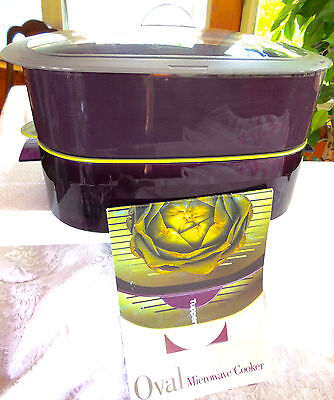 Tupperware MICROWAVE Cooker SET: 6 Pieces * Purple/EGGPLANT/Green + Instructions