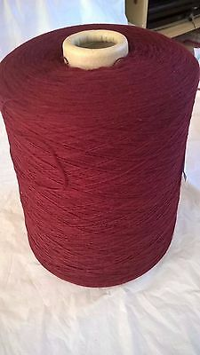Maroon 1ply 100% acrylic   1.071 kg Hand or Machine Knitting Yarn on Cone LOT 25