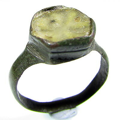 Scarce Medieval Bronze Ring With Gem/stone In Bezel- Wearable - 1867