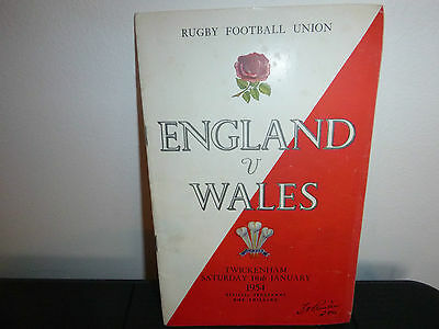England V Wales Rugby Programme 1954