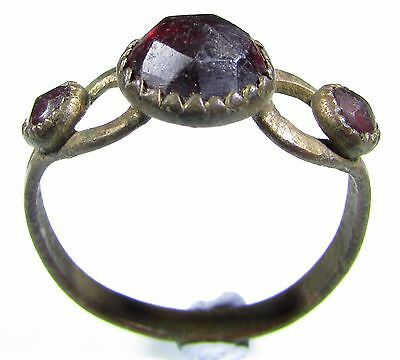Stunning Late Medieval Gold Gilded Bronze Ring With 3 Red Stones -Wearable- 1872