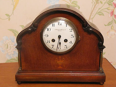 Antique c1900 French Striking Mantel Clock Inlaid Mahogany Case Pidduck & Sons