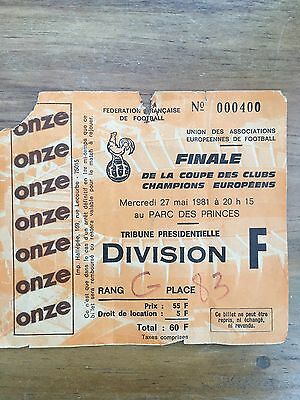 1981 European Cup Final Ticket Stub Liverpool V Real Madrid