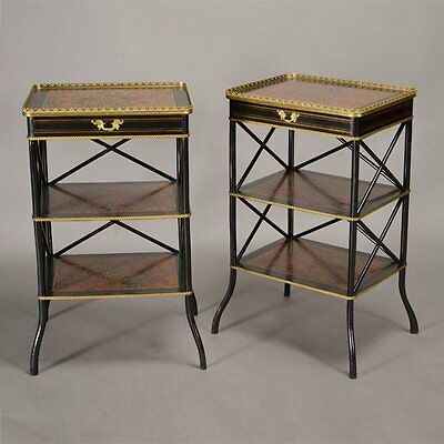 PAIR of Antique French Napoleon Boulle NIGHTSTAND / COMMODE / ETAGERE SIDE TABLE