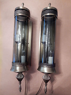 Vintage Two Matching Wall Lamp Light Sconce Antique Brass Smoked Glass