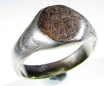 Very Rare Post Medieval Gold-Gilded Silver Ring With Personal Initials - 1878