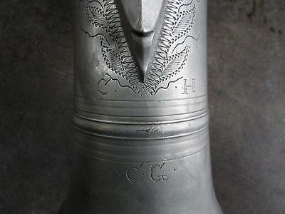 Antique Lidded  Pewter Jug