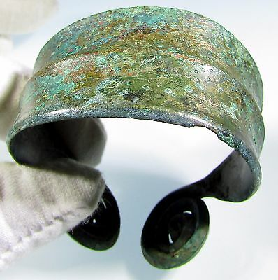Stunning Celtic-Bronze Age-Bronze Decorated Bracelet With Coiled Terminals -1887