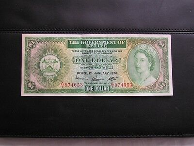 Rare Banknote - 1976 QEII Belize $1 Dollar - Series A/1 Uncirculated