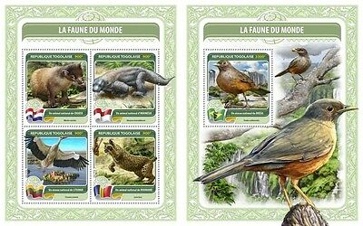 Z08 TG16404ab TOGO 2016 National bird of Brazil MNH Set