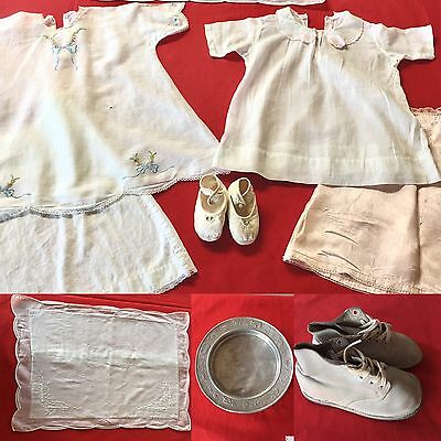 """Lot of ANTIQUE Vintage Baby Clothes Bedding 13"""" Shoes Lace Edging Dish 1900s"""