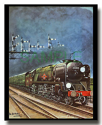 SR Bulleid Merchant Navy 35010 Blue Star waiting at a signal framed picture