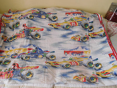 2 RARE Vintage CAR RACING TWIN SINGLE Child's BEDSPREADS COVERS ~FREE SHIP~