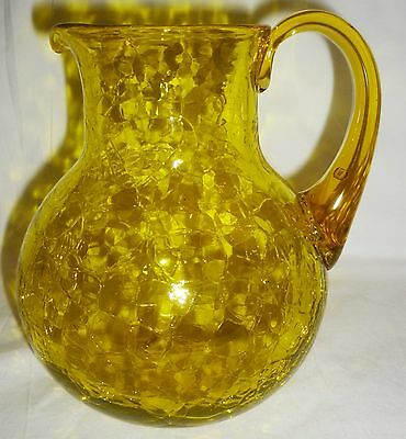 Vintage Bright Yellow Crackle Glass Water Pitcher