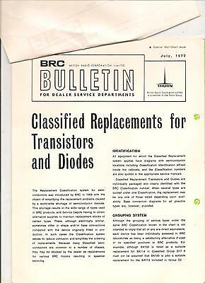 BRC Bulletin Replacements for Transistor /Diodes1971 letter from BRC to Mr. Burt