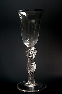 18th CENTURY STYLE GLASS WITH AIR TWIST STEM  15.5CM