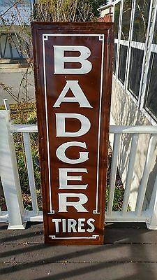 """Rare 60"""" Vertical 1920s BADGER Fisk Tire Rubber Auto Gas Oil Tin Embossed Sign"""