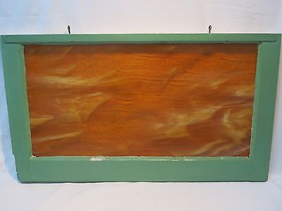 Antique Slag Glass Transom Wood Window Beautiful Orange and White Glass