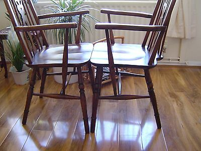 antique chairs  bow back windsor arm chairs x2