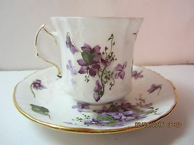 Vintage Hammersley Bone China Tea Cup & Saucer-Victorian Violets-England-H28& 54