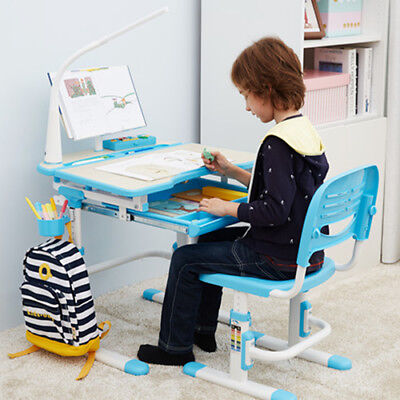 """""""STUDY RIGHT"""" Children Height Adjustable Study desk & Chair,suit age 3-16 (Blue)"""