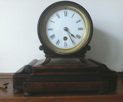 Antique mantle drumhead  clock timepiece  made in 1830 in excellent condition.
