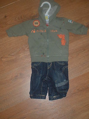 M&s Baby Boys Outfit Newborn Khaki Hoodie & Jeans Up To 1 Month