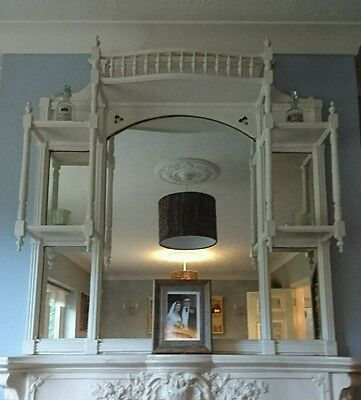Mirror Vintage Antique Edwardian Old White Over Mantle shabby chic large shelves