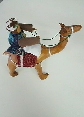 Vintage HAND STITCHED LEATHER CAMEL FIGURINE With Rider