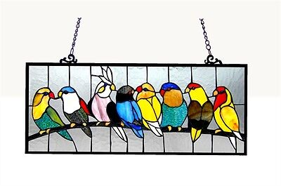 "Singing Birds on Wire Tiffany Style Stained Glass Window Panel  10.5"" x 25.5"""