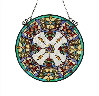 "Handcrafted 23.4"" Diameter Round Window Panel Victorian Stained Glass"