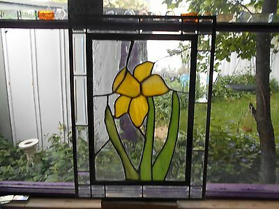 Stained Glass Window Panel Suncatcher Brilliant Yellow