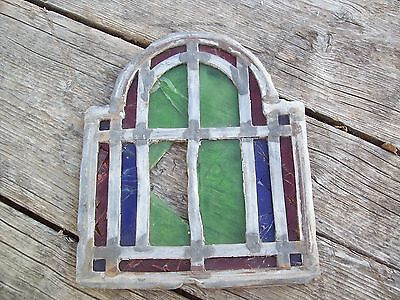 """Antique Vtg Church Stained Glass Window Architectural Salvage Colorful 9"""" Tall"""