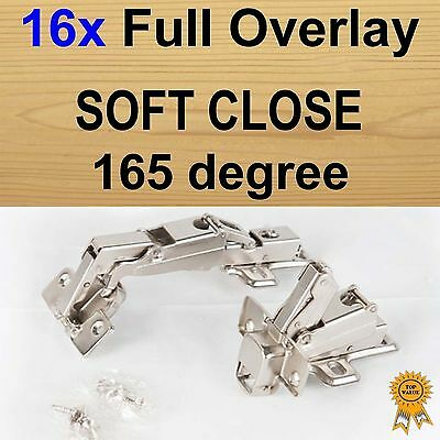 16x Door Kitchen Cabinet Cupboard Soft Close Full Overlay Hinges -165 degree